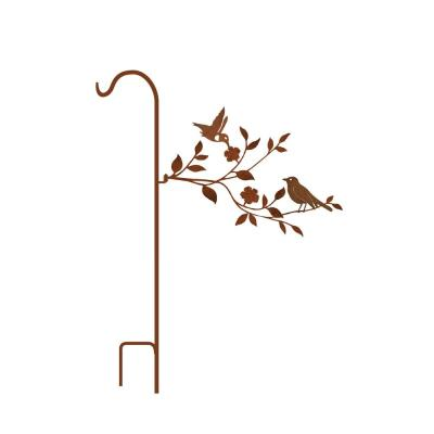 50 in. Tall Yellowish Brown Rust Steel Shepherd's Hook with Robin/HumBird on Branch