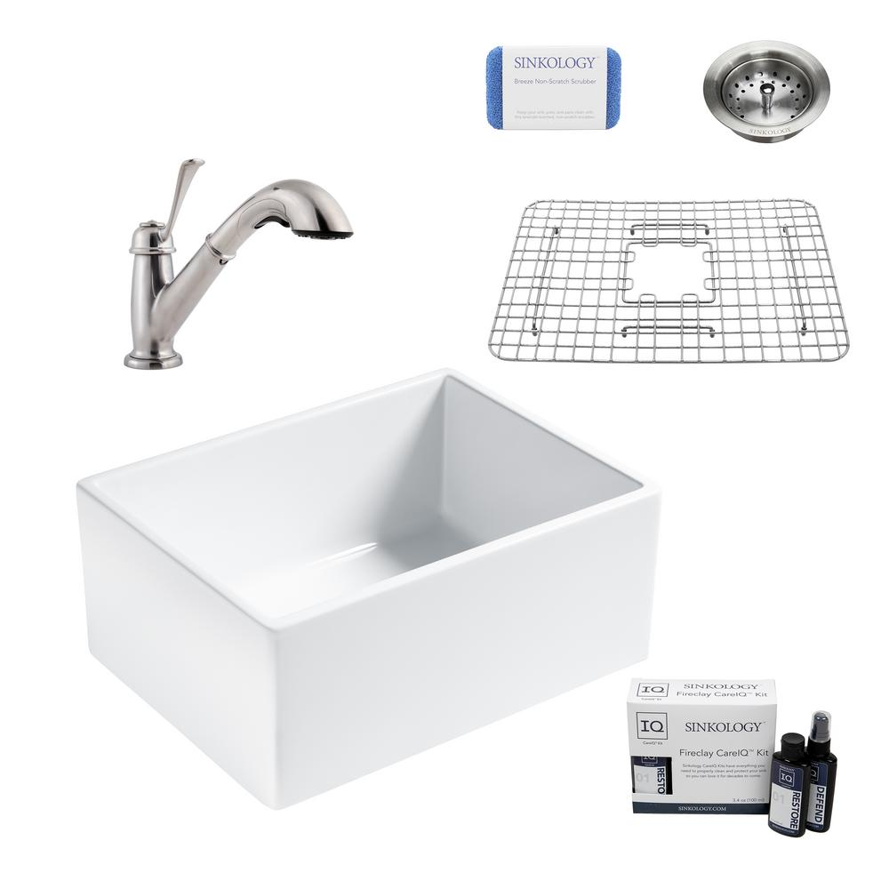 SINKOLOGY Wilcox II All-in-One Farmhouse Apron Fireclay 24 in. Single Bowl Kitchen Sink with Pfister Faucet and Strainer