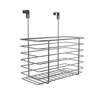 10 in. x 4.5 in. x 11.5 in. 1-Tier Over The Cabinet Extra Deep Storage Basket in Chrome