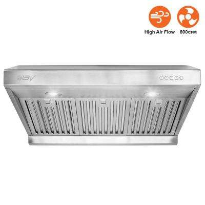 30 in. 800 CFM Under Cabinet Range Hood with Baffle Filters, LED Lights and Push Buttons in Stainless Steel