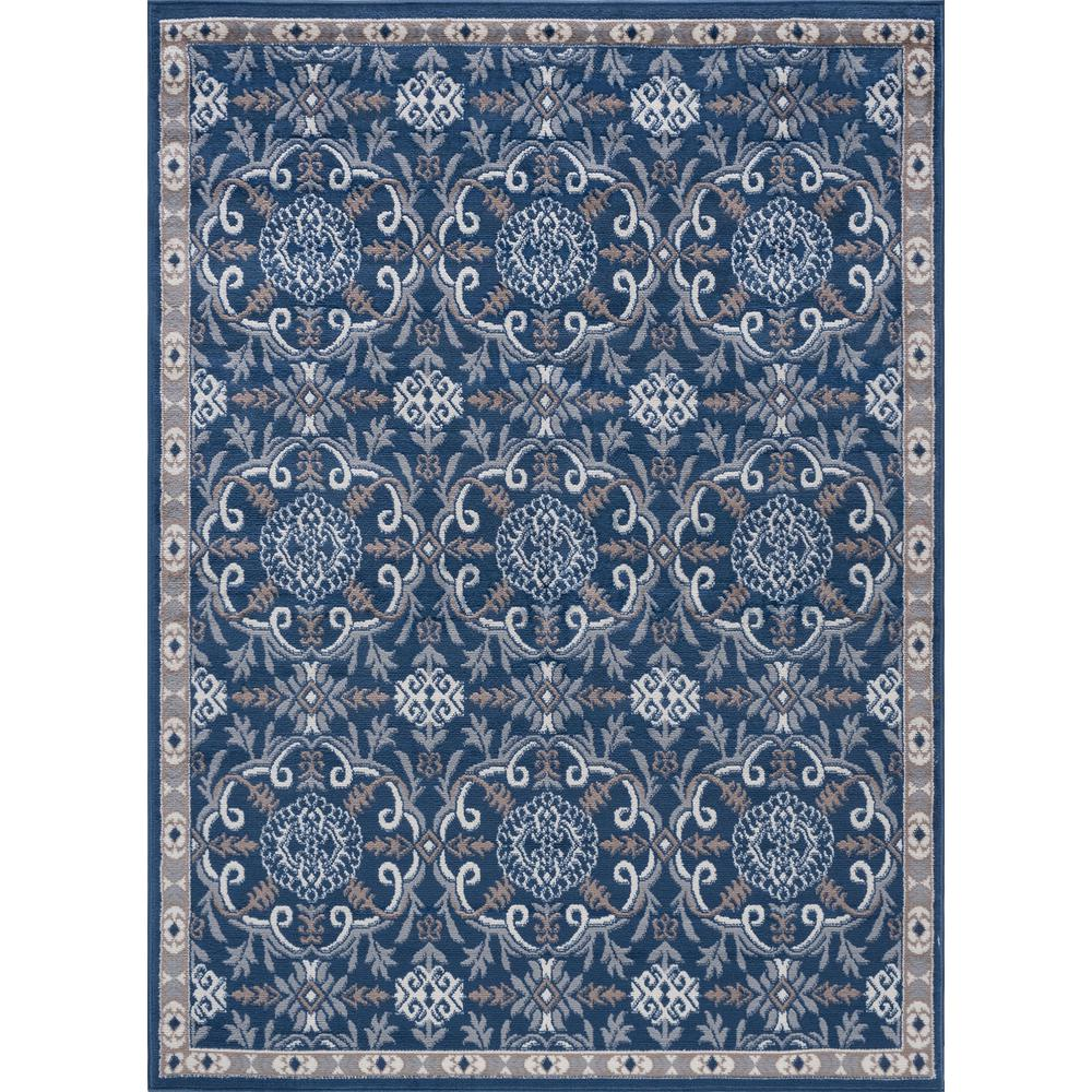Tayse Rugs Hampton Traditional Navy 4 Ft X 5 Ft Area Rug Hmp3807
