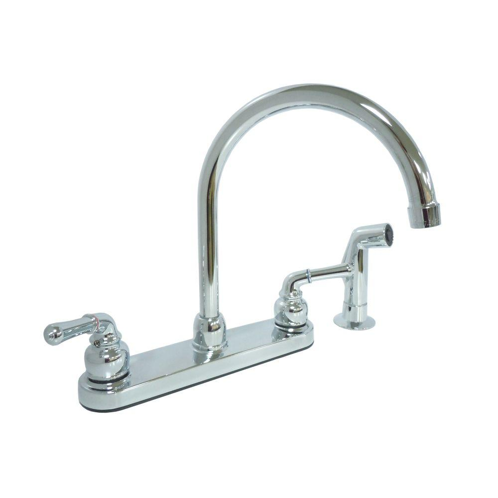 null Dominion 2-Handle Standard Kitchen Faucet with Side Sprayer in Chrome