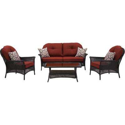 Saros 4-Piece Steel Outdoor Conversation Set with Red Cushions