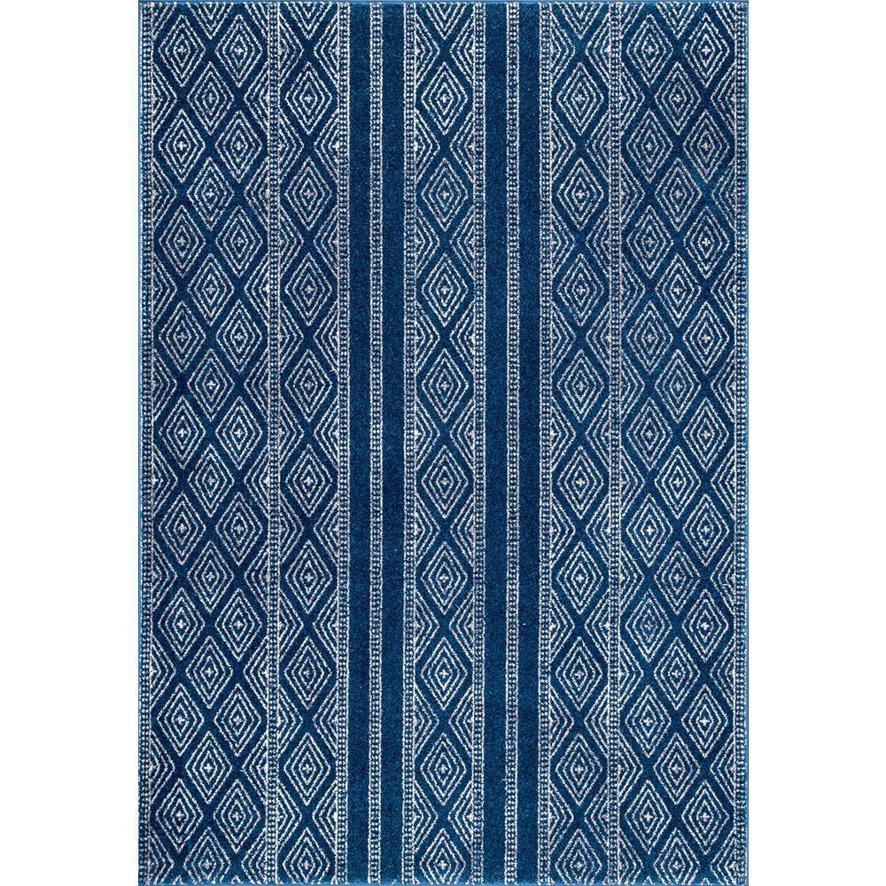 Sarina Tribal Diamond Striped Blue 3 ft. x 8 ft. Runner