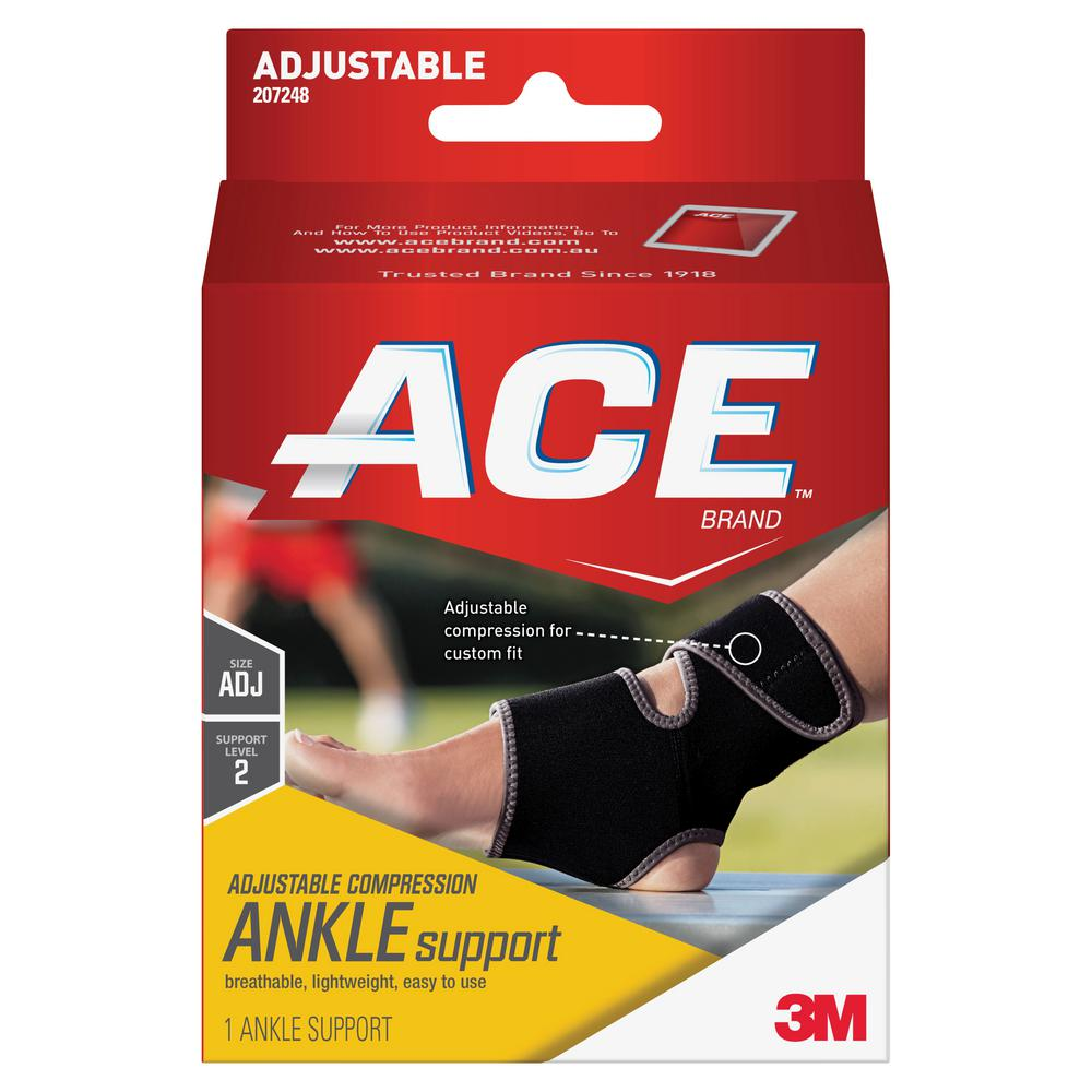 033158aaa4 Ace Adjustable Ankle Support Brace in Black-207248 - The Home Depot