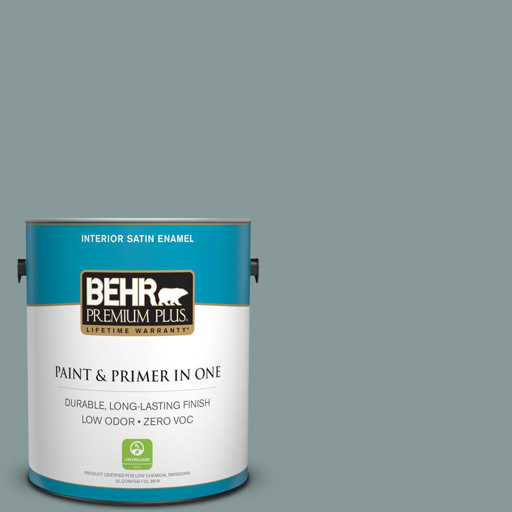 BEHR Premium Plus Home Decorators Collection 1-gal. #HDC-AC-23 Provence Blue Zero VOC Satin Enamel Interior Paint