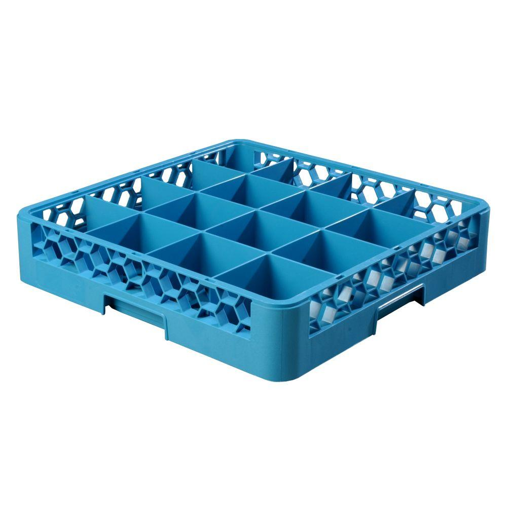Carlisle 19.75x19.75 in. 16-Compartment Glass Rack (for Glass 4.19 in. Diameter, 3.19 in. H) in Blue (Case of 6)