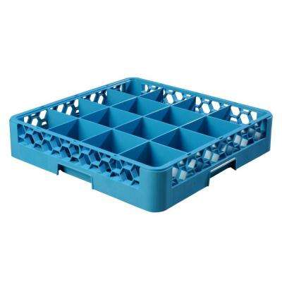 19.75x19.75 in. 16-Compartment Glass Rack (for Glass 4.19 in. Diameter, 3.19 in. H) in Blue (Case of 6)