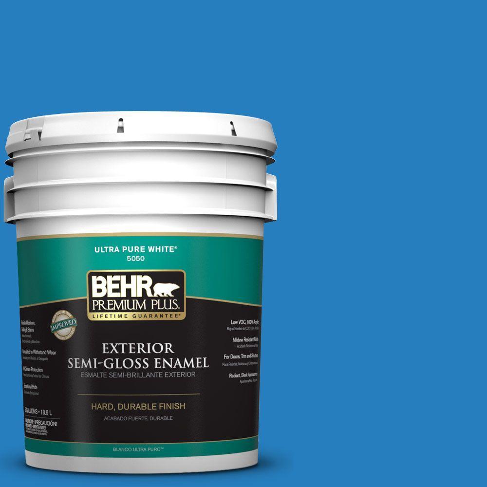 BEHR Premium Plus 5-gal. #P510-6 Brilliant Blue Semi-Gloss Enamel Exterior Paint