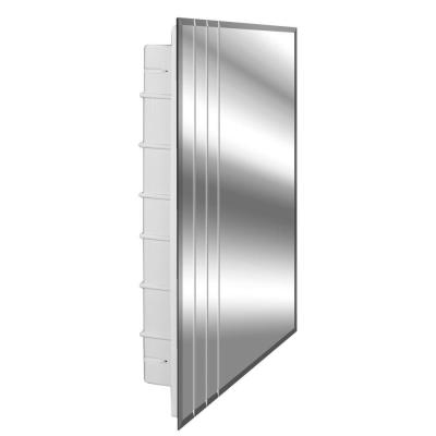 Rigel 16 in. x 26 in. x 3-1/2 in. Frameless Recessed 1-Door Medicine Cabinet with 6-Shelves and 3 V-Groove Mirror