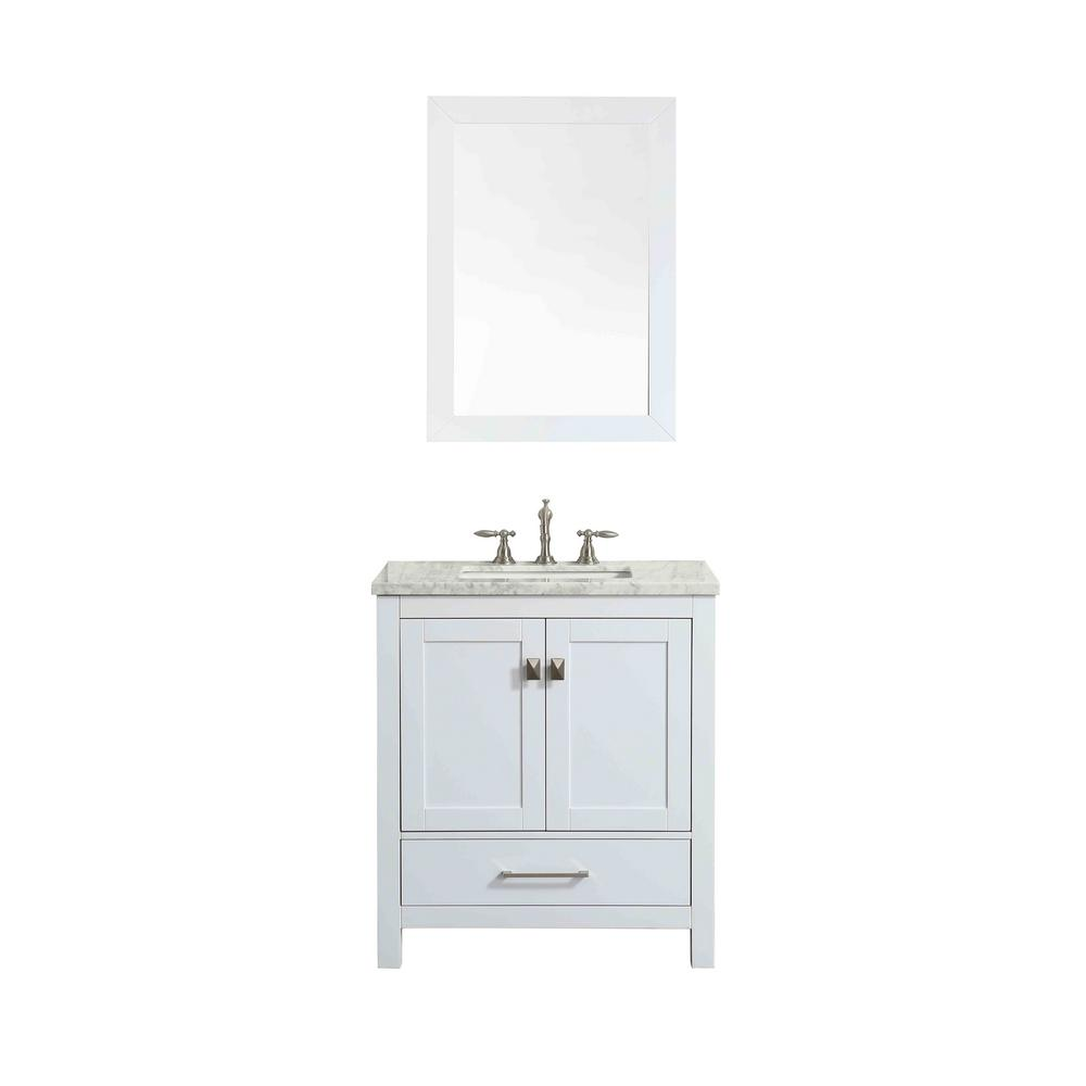 Eviva Aberdeen 29.1 in. W x 22 in. D x 35 in. H Vanity in White with Carrara Marble Vanity Top in White with White Basin