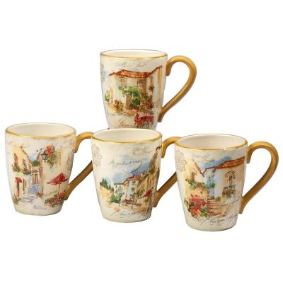 Piazzette 4-Piece Multi-Colored 22 oz. Mug Set