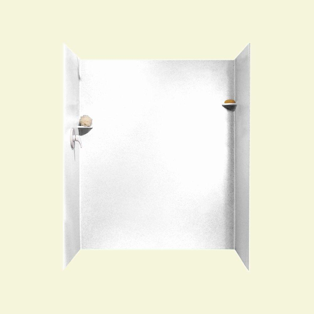 Swan 36 in. x 60 in. x 72 in. 3-piece Easy Up Adhesive Alcove Shower Surround in White