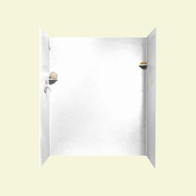 36 in. x 60 in. x 72 in. 3-piece Easy Up Adhesive Alcove Shower Surround in White