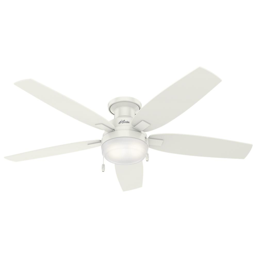 Hunter duncan 52 in led indoor fresh white flush mount ceiling fan led indoor fresh white flush mount ceiling fan with light 59186 the home depot mozeypictures Image collections