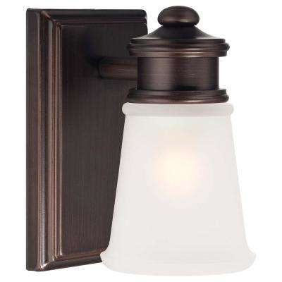 1-Light Dark Brushed Bronze Vanity Light with Etched White Glass