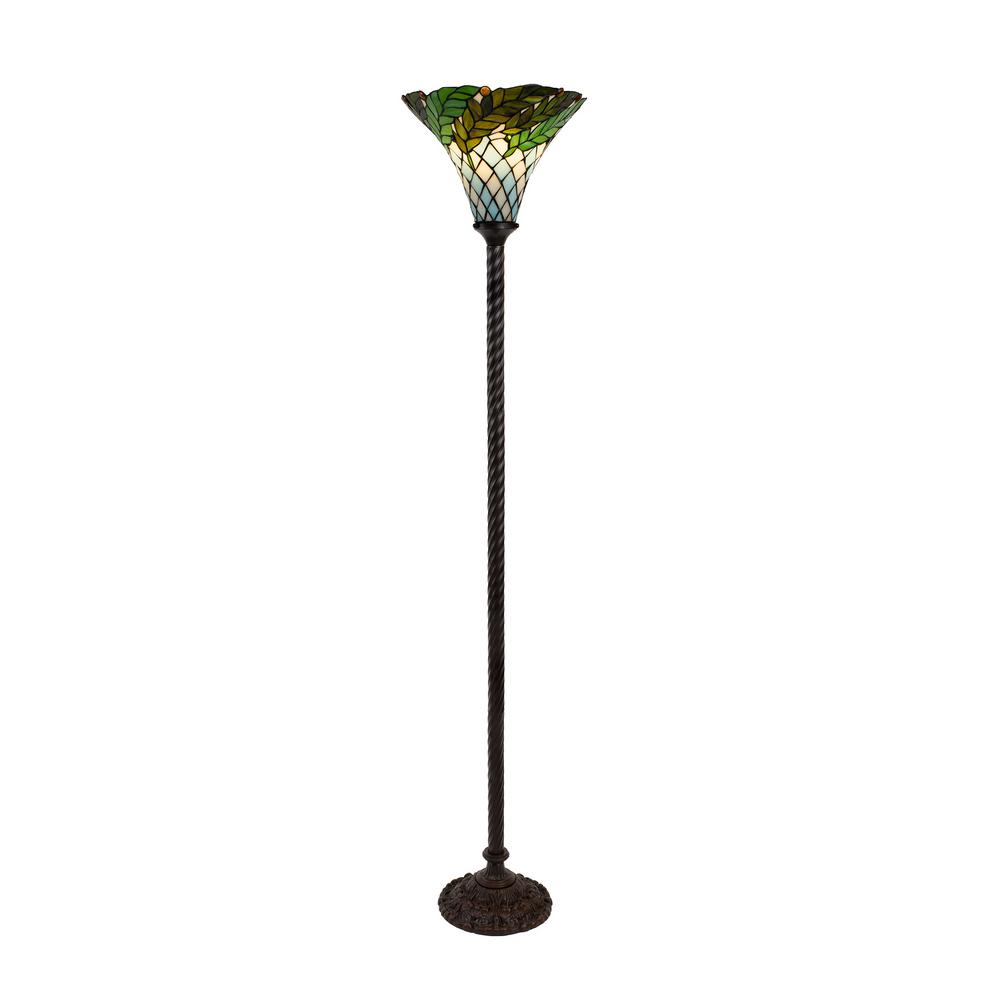 Lavish Home 72 in. Multi-Colored Tiffany Style LED Foliage Floor Lamp