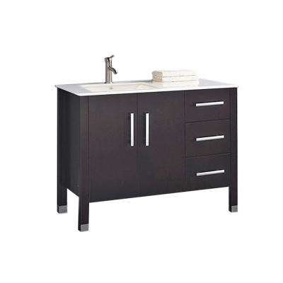 Moselle-L 40 in. W x 22 in. D x 35 in. H Vanity in Espresso with Ceramic Vanity Top in White with White Basin