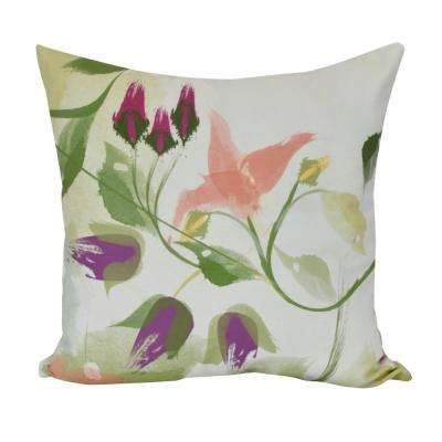 16 in. Windy Bloom , Floral Print Decorative Pillow