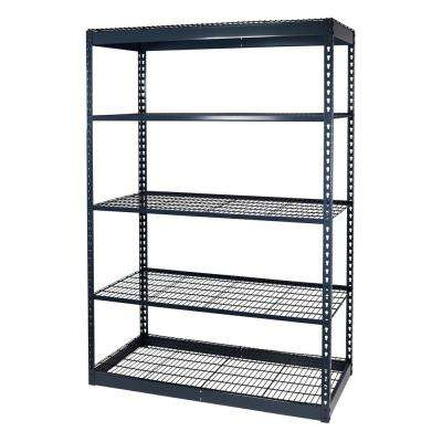 72 in. H x 48 in. W x 12 in. D 5-Shelf Steel Boltless Shelving Unit with Low Profile Shelves and Wire Mesh Decking
