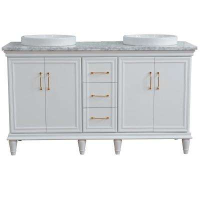61 in. W x 22 in. D Double Bath Vanity in White with Marble Vanity Top in White Carrara with White Round Basins