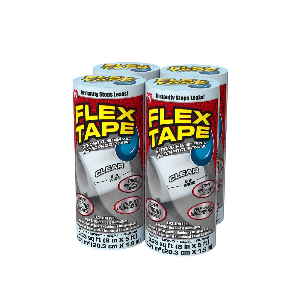 Flex Tape Clear 8 in. x 5 ft. Strong Rubberized Waterproof Tape (4-Piece)