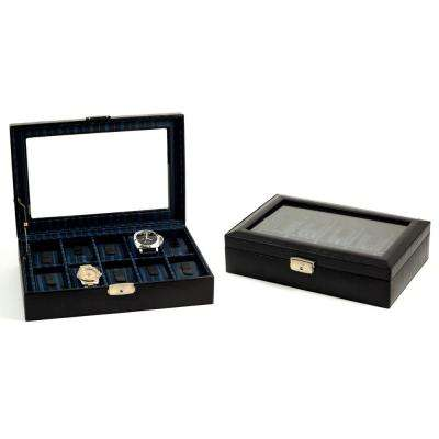 12 in. D x 3 in. H x 8 in. W Leather Watch Case in Black