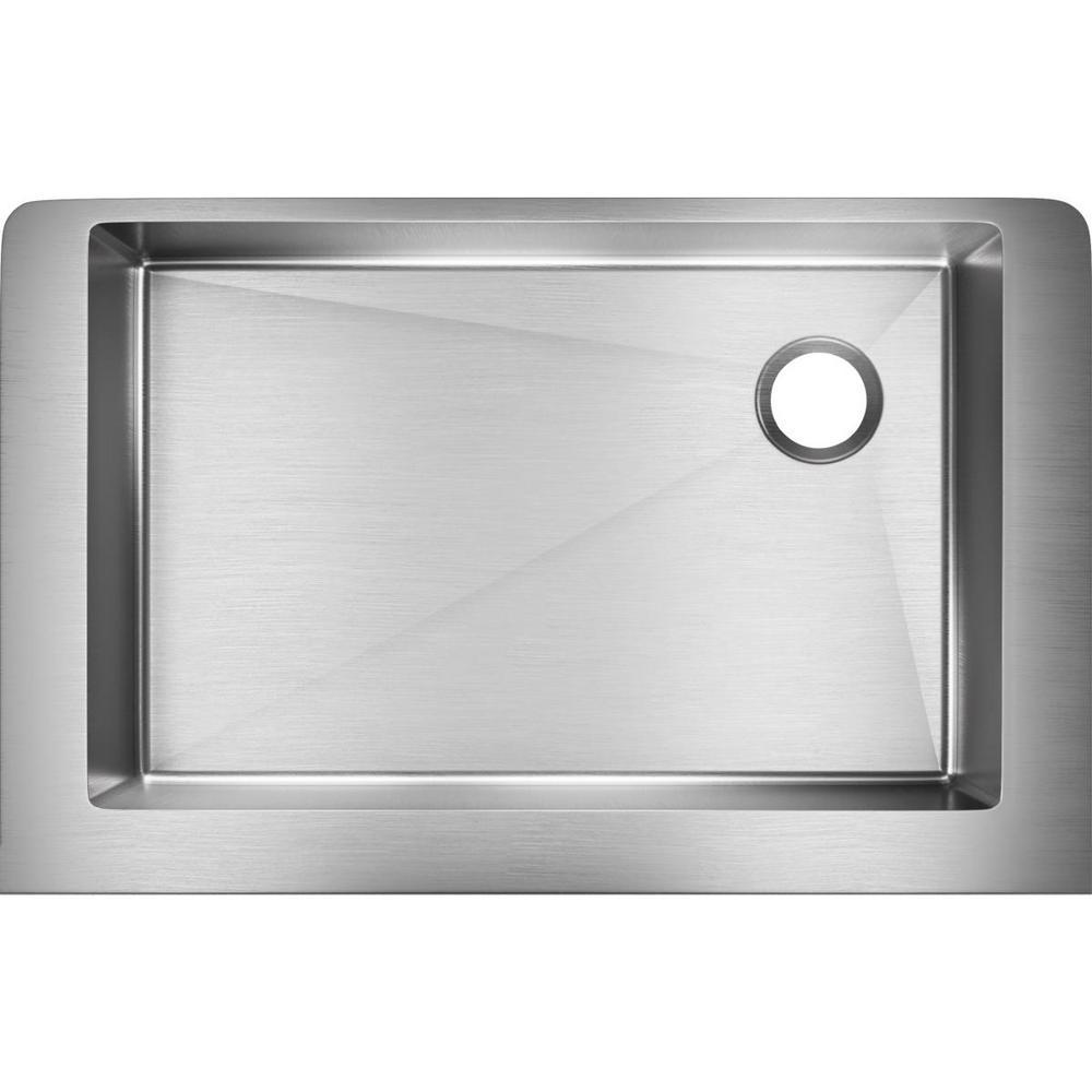 Elkay Crosstown Farmhouse Apron Front Stainless Steel 31 In. Single Bowl  Kitchen Sink