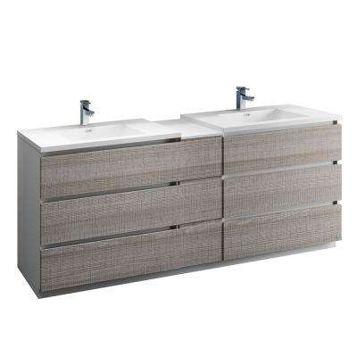 Lazzaro 84 in. Modern Double Bathroom Vanity in Glossy Ash Gray, Vanity Top in White with White Basins