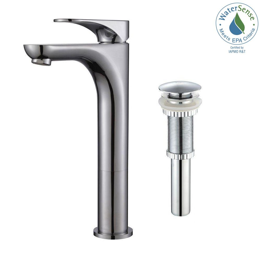 Aquila Single Hole Single-Handle Vessel Bathroom Faucet with Matching Pop-Up