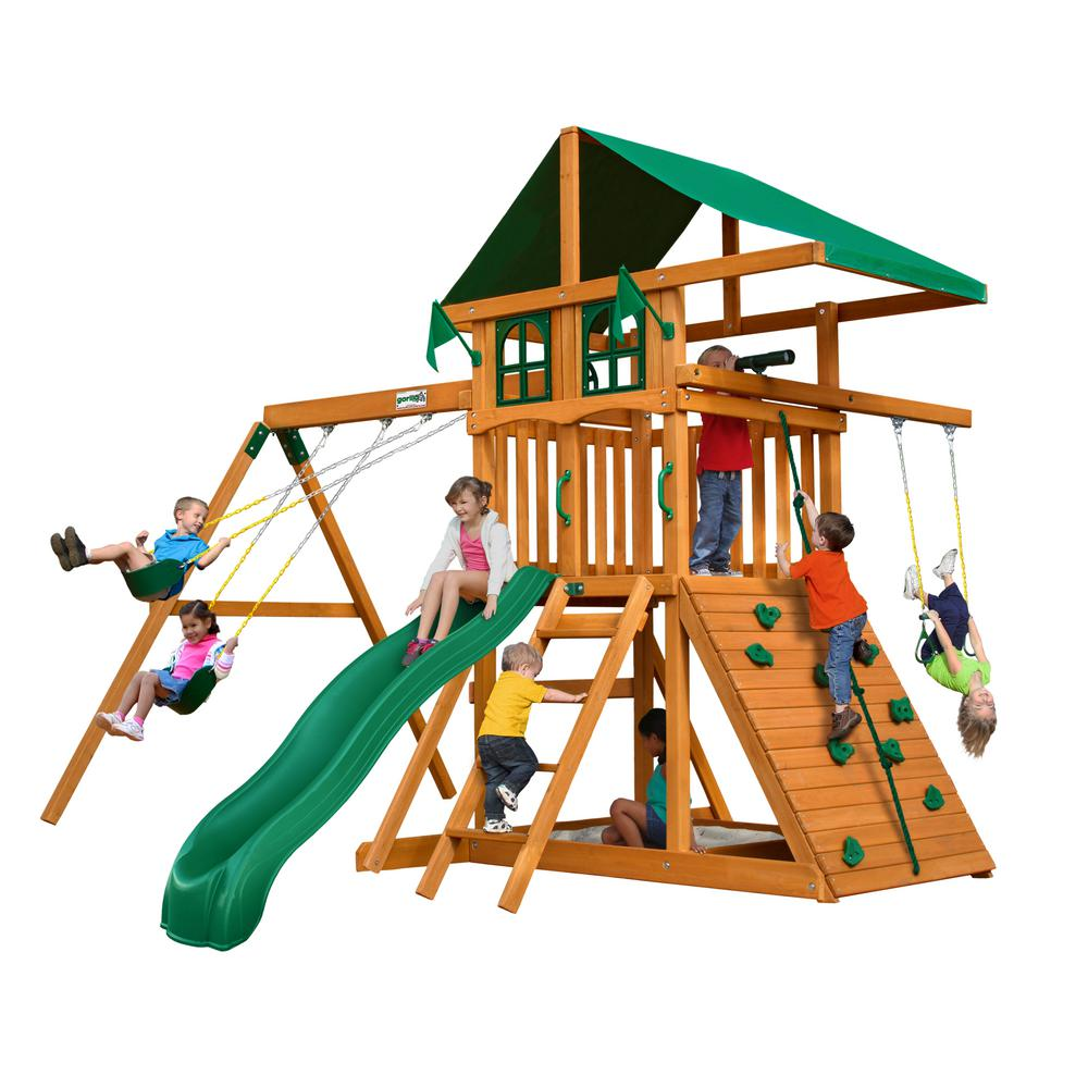 Gorilla Playsets Outing Iii Deluxe Wooden Swing Set With Rock Wall
