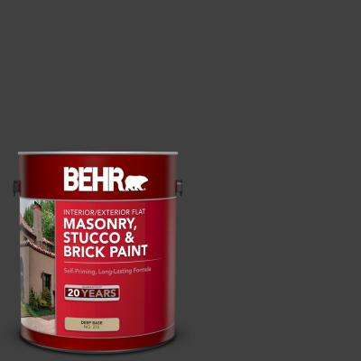 1 gal. #1350 Ultra Pure Black Flat Interior/Exterior Masonry, Stucco and Brick Paint