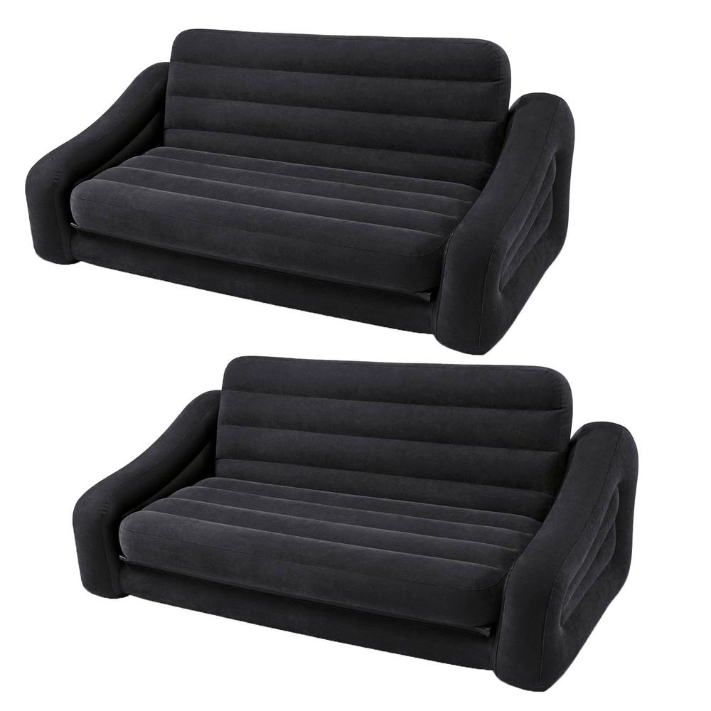 Intex Queen Size Dark Gray Inflatable Pull Out Futon Sofa Couch Bed (2-Pack)