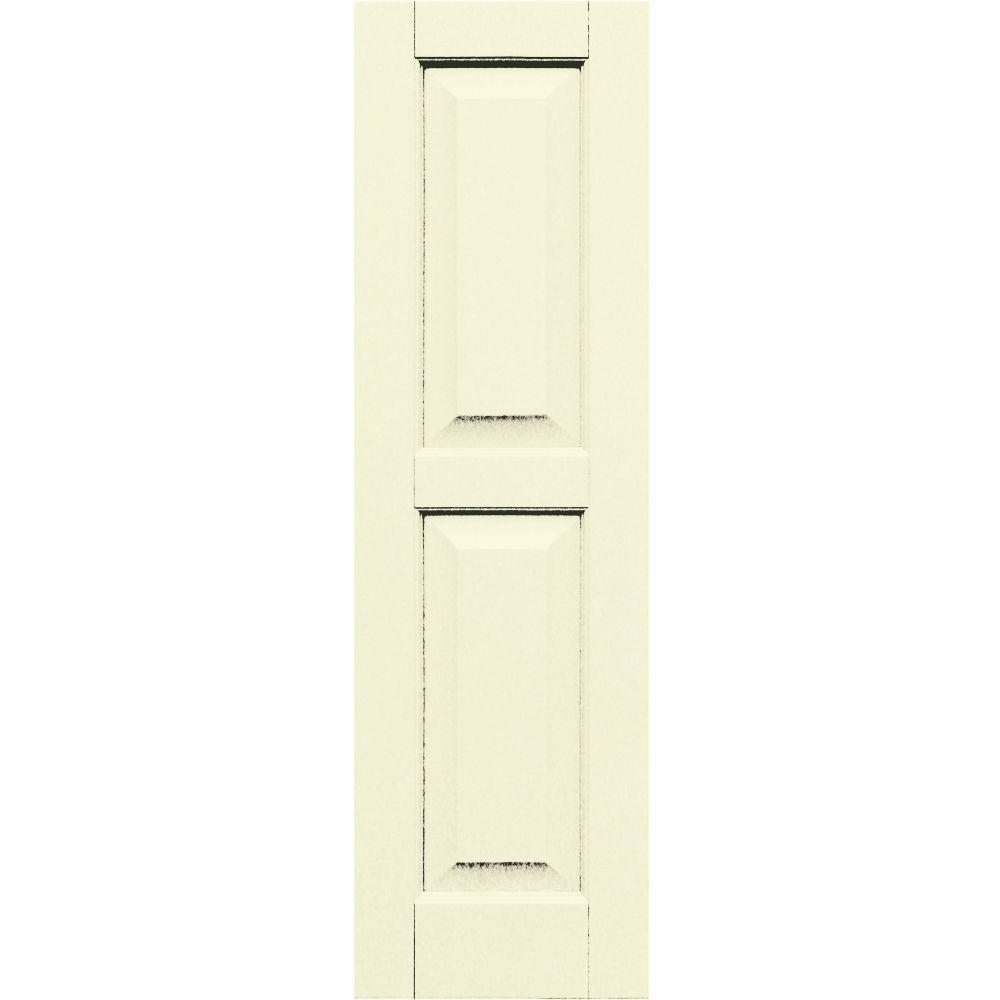 Winworks Wood Composite 12 in. x 41 in. Raised Panel Shutters Pair #651 Primed/Paintable