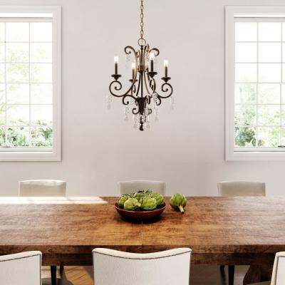 4-Light Oil Rubbed Bronze Crystal Small Chandelier
