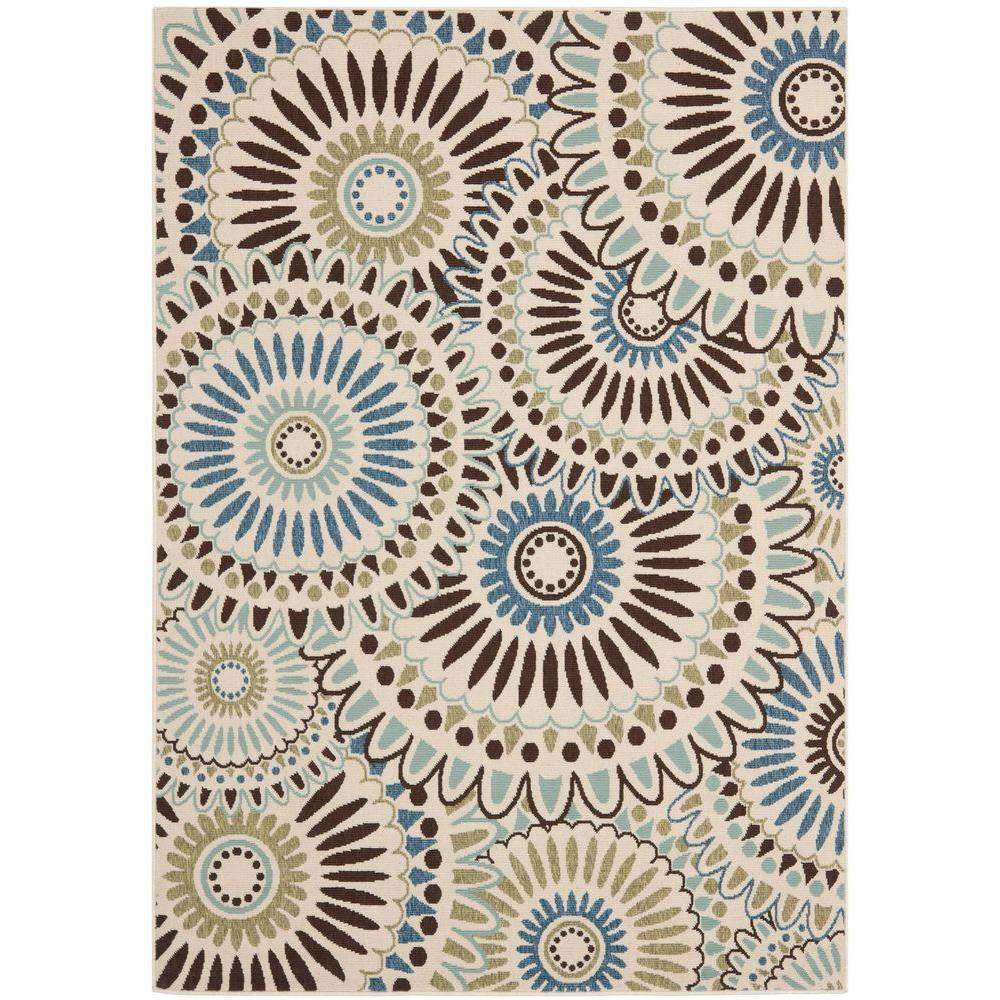 Safavieh Veranda Cream/Blue 6 ft. 7 in. x 9 ft. 6 in. Indoor ...