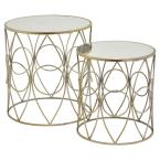 THREE HANDS 20.25 in. Metal/Mirror Table in Champagne (Set of 2)