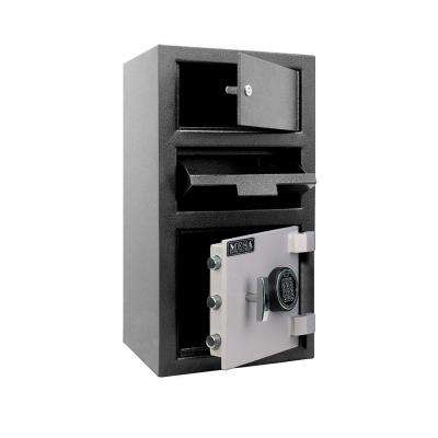 1.5 cu. ft. All Steel Electronic Lock Depository Safe with Outer Locker in 2-Tone, Black and Grey