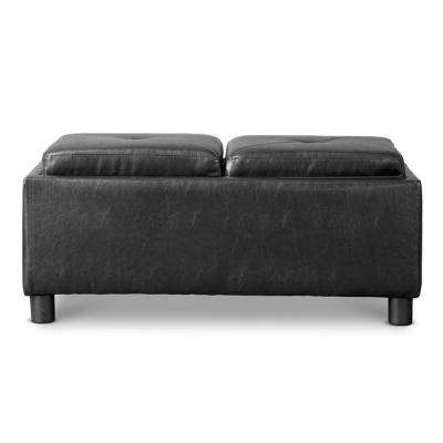 Billiard Traditional Black Faux Leather Upholstered Storage Ottoman