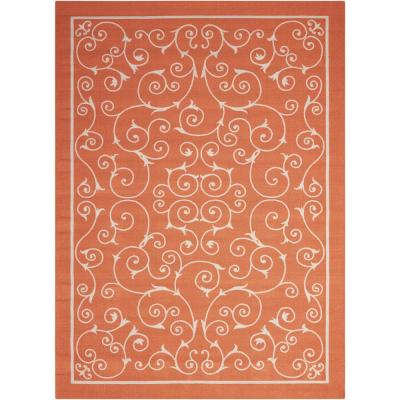 Home and Garden Pavilion Orange 8 ft. x 11 ft. Floral Transitional Indoor/Outdoor Area Rug