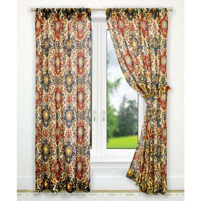 Tuscany Red Polyester Tailored Pair Curtains with Tiebacks - 70 in. W x 63 in. L