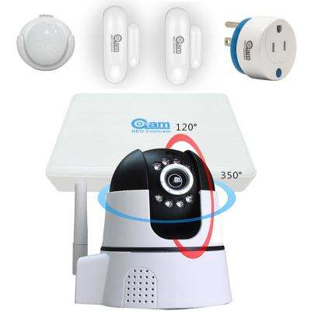 iHome Kit 8-Channel NVR, PTZ WiFi IP Camera, Door, Window, PIR Sensor and Power plug