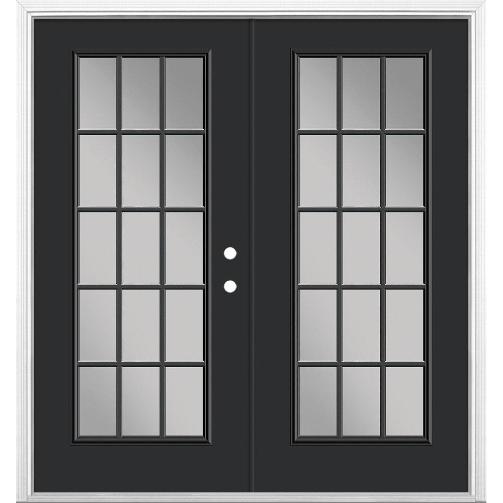 72 in. x 80 in. Jet Black Steel Prehung Left-Hand Inswing 15-Lite Clear Glass Patio Door with Brickmold