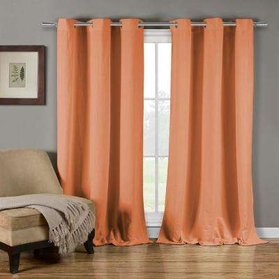 Mildred 38 in. W x 84 in. L Polyester Window Panel in Salmon