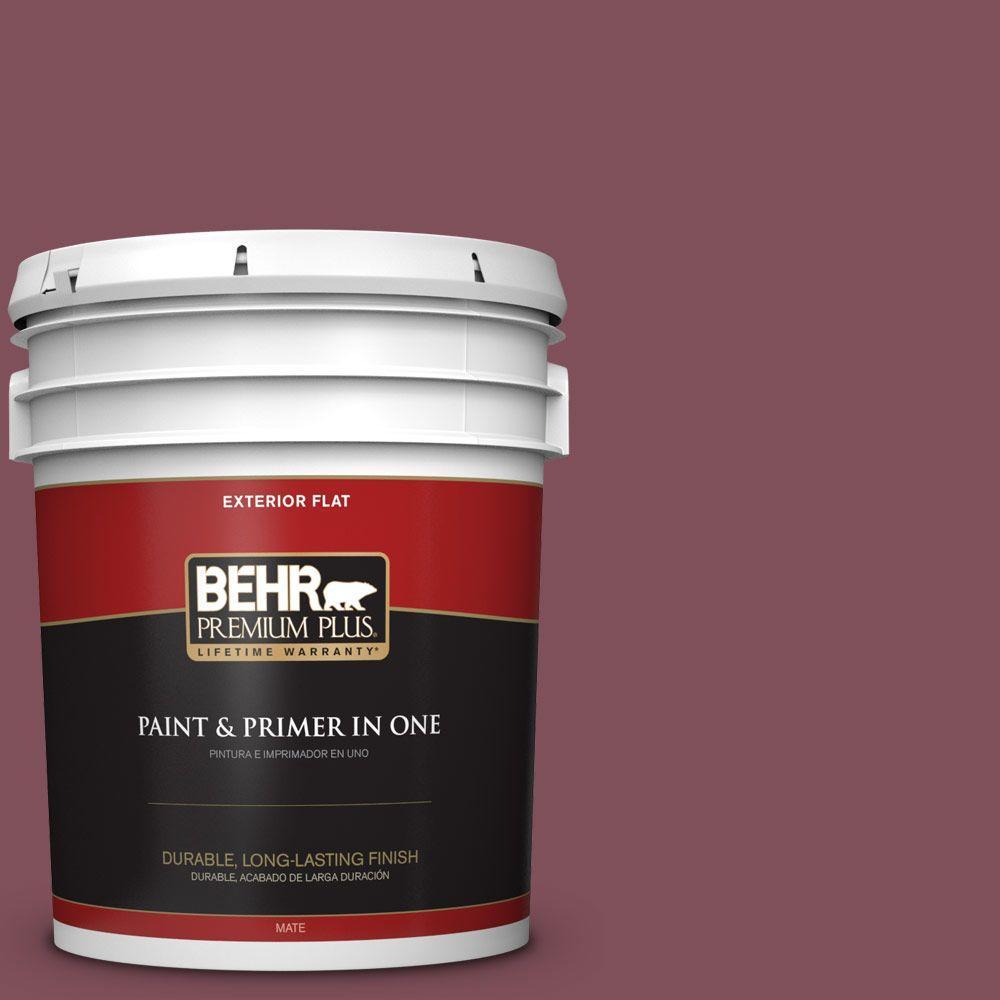 BEHR Premium Plus 5-gal. #HDC-CL-02 Fine Burgundy Flat Exterior Paint