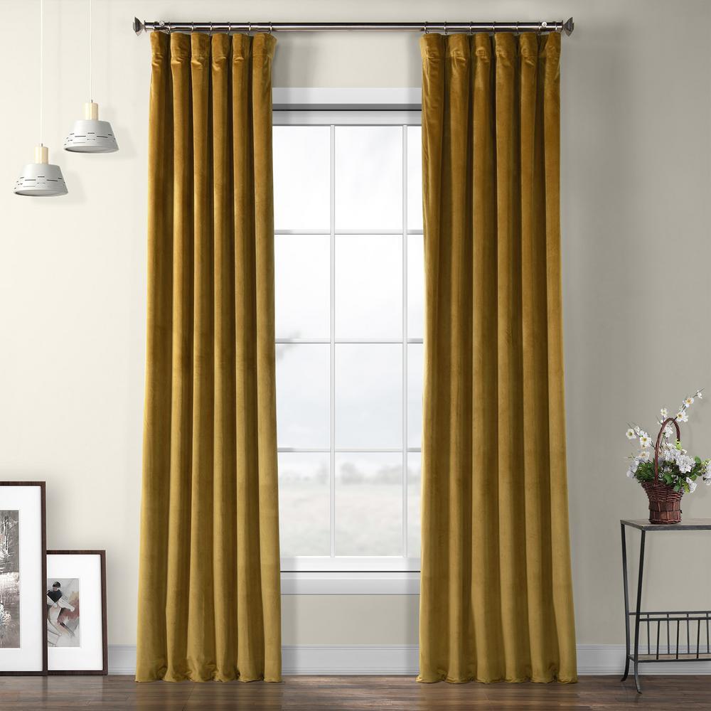 Peat Green Heritage Plush Velvet Curtain - 50 in. W x 96 in. L