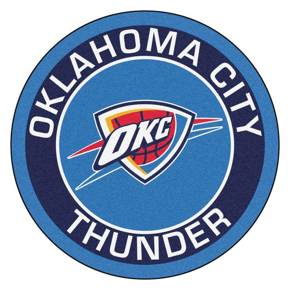 FANMATS NBA Oklahoma City Thunder Blue 2 Ft. X 2 Ft. Round Area Rug