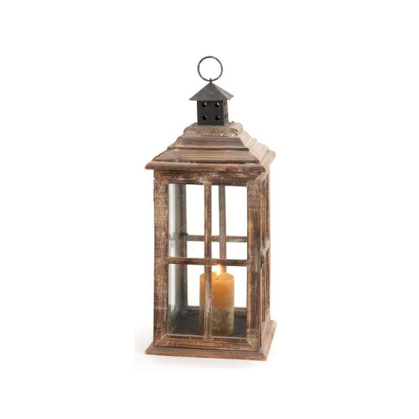 Litton Lane 23 In New Traditional Brown Wood And Glass Candle Lantern 61684 The Home Depot