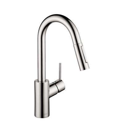 Focus Prep Single-Handle Pull-Down Sprayer Kitchen Faucet in Chrome