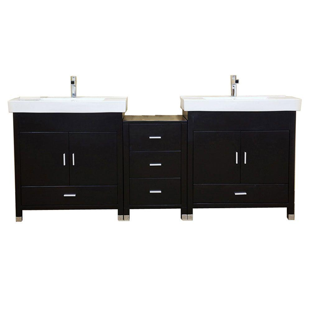 w double vanity in black with porcelain